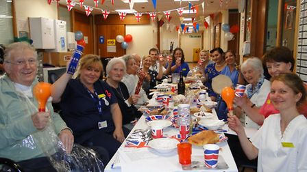 Patients and staff at Alexandra Ward enjoy their D-Day street party.