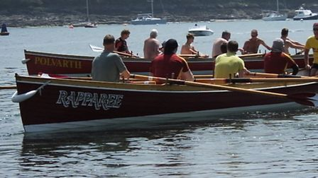 Ilfracombe's Mens B team head out to the start at the St Mawes Roseland Regatta.