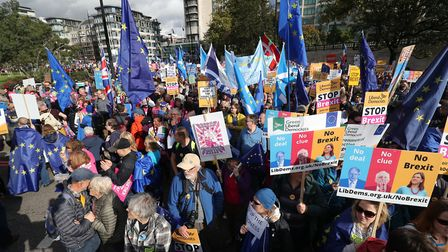 Protestors are gathering in their thousands to demand a People's Vote. Picture: Andrew Matthews/PA W