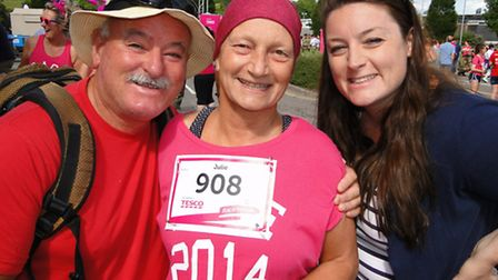 Cancer fighter Julie Lewis, from Barnstaple, is supported by husband Gwyn and daughter Sian.