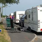 Ian Blake at Bay Spas Hot Tubs on Mullacott estate took this picture of caravan owners waiting for t