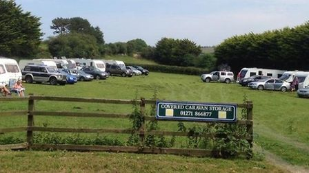 This picture taken by Alison Homa shows the beleaguered caravanners parked up in their field at Mull