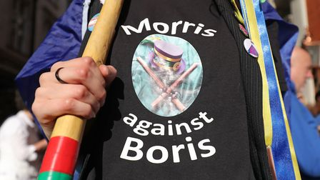 Morris dancers taking part in the pro People's Vote march. Picture: Andrew Matthews/PA Wire