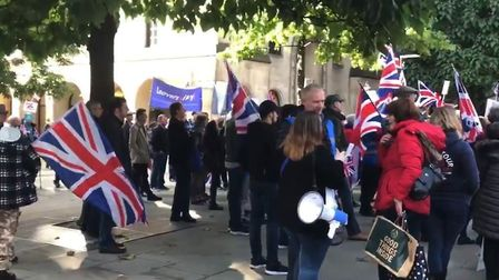 A view of the pro-Brexit march taking place in Manchester. Picture: Hits Radio/Twitter