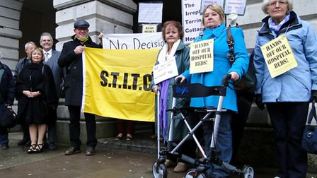 Torrington hospital bed campaigners make their voices heard before this morning's meeting in South M
