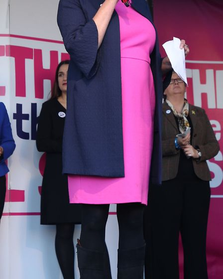 Antoinette Sandbach, on stage during the People's Vote rally. Photograph: Yui Mok/PA Wire.