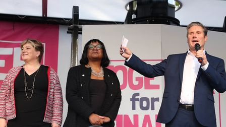 (left to right) Shadow foreign secretary Emily Thornberry, shadow home secretary Diane Abbott and sh