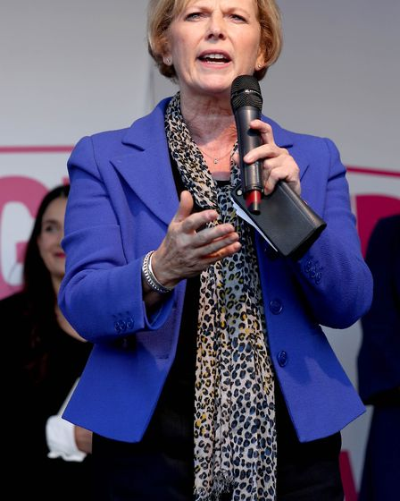 MP Anna Soubry on stage during the People's Vote rally. Photograph: Yui Mok/PA Wire.