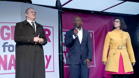 (left to right) Sir Ed Davey, Liberal Democrat MPs Sam Gyimah and Layla Moran, on stage during the P