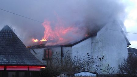 The scene of the fire at Bickington today (Sat).