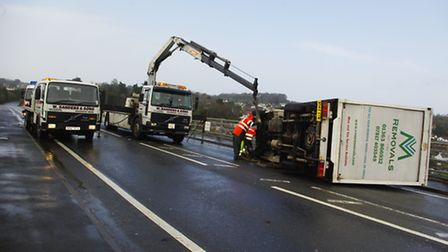 Severe gales have blown a heavy goods vehicle onto a car on the Torridge Bridge in Bideford. Picture