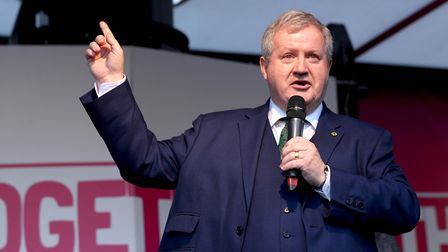 Ian Blackford, on stage during the People's Vote rally. Photograph: Yui Mok/PA Wire.
