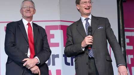 Hilary Benn (left) and Dominic Grieve, on stage during the People's Vote rally. Photograph: Yui Mok/