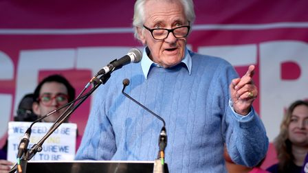 Lord Michael Heseltine, on stage during the People's Vote rally. Photograph: Yui Mok/PA Wire.