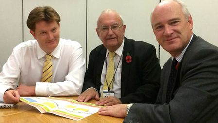 Liberal Democrat chief secretary to the Treasury Danny Alexander (L) met with Cllr Brian Greenslade