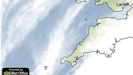 Cloud cover for tomorrow morning. Picture: Met Office