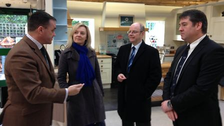 The rural affairs minister Liz Truss and Conservative parliamentary candidate Peter Heaton-Jones cha