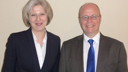 Home secretary Theresa May with Conservative candidate for North Devon Peter Heaton-Jones