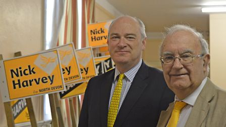 Nick Harvey (left) launches his re-election campaign with North Devon Council leader Brian Greenslad
