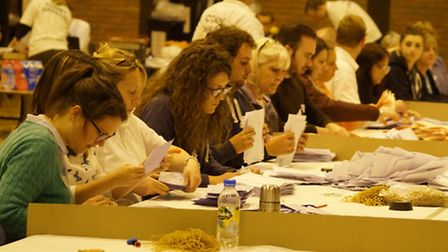 The count gets under way at North Devon Leisure Centre. Picture: Andy Keeble