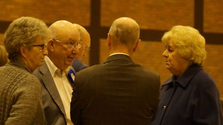 Re-elected Conservative district councillors Michael Harrison and Jasmine Chesters chat with new MP