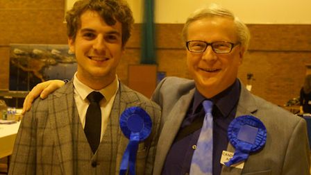 Young Ilfracombe West Conservative candidate Felix Milton, pictured with dad Philip, failed to win a