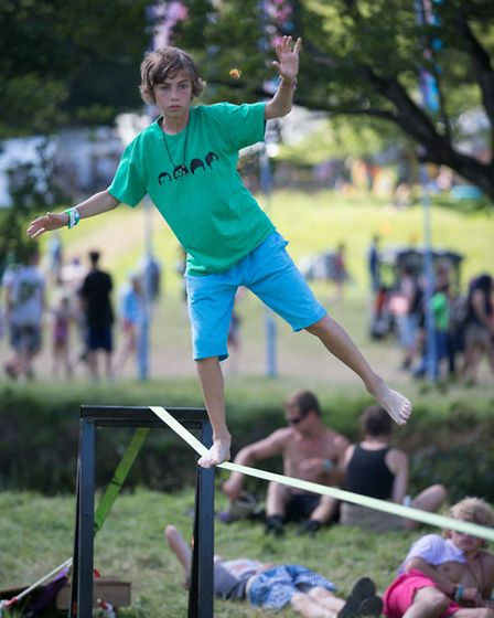 Have a go at slacklining at Somersault Festival at Castle Hill, Filleigh. Pic by Andy Casey