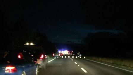 The scene on the A39 tonight after two cars collided and caught fire. Picture: Kathryn-Racheal Ring