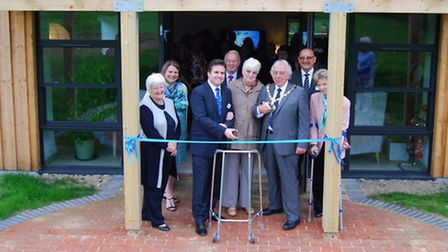 The Long House was opened by: (front row L-R) Stephen Roberts, Chief Executive of North Devon Hospic