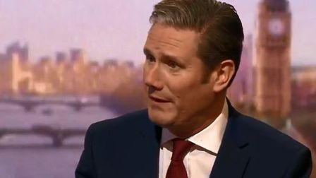 Sir Keir Starmer speaking to BBC's Andrew Marr this morning. Picture: BBC
