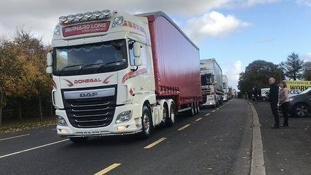 150 trucks make their way from Donegal across the border into Co Londonderry in a bid to highlight t