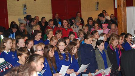 Pilton Bluecoats pupils joined Barnstaple town councillors to sing hymns.Picture: Elliot Anderton