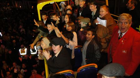 The cast of Oliver! on the bus