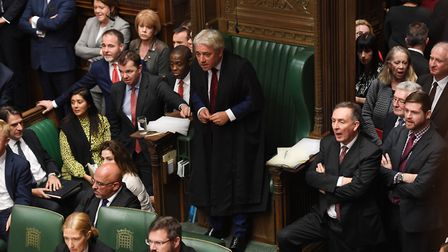 Speaker John Bercow in the House of Commons as they debate Boris Johnson's new Brexit deal. Photogra