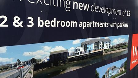 The hoarding advertising the new apartments at Rolle Quay