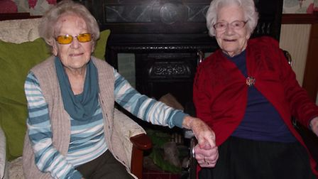 Majorie Walton, 101 and Jessie Prentice, 103, at Goldens Sands Care Home in Westward Ho!