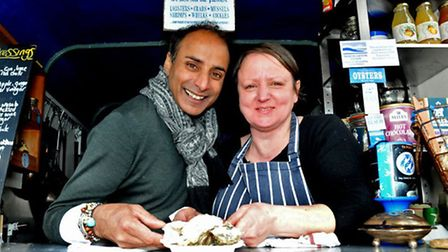 Lyndsay Platt of The Glorious Oyster with celebrity chef and One Show presenter Reza Mahammad in Wes