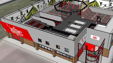 A graphic representation of the proposed layout for Air Extreme trampoline park in Barnstaple.