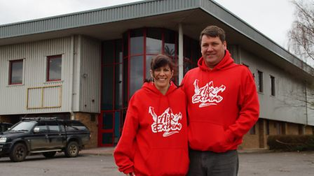 Air Extreme owners Amelia and Bruce Isaac outside the new premises for the trampoline park at Rounds