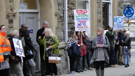 Route 39 backers protest outside Bideford Town Hall.