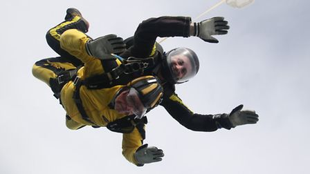 100-year-old Verdun Hayes taking on his sky dive. Pictures: Submitted