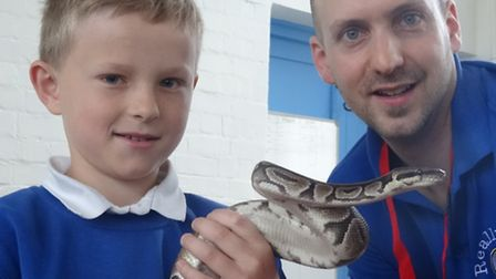 Snakes alive! Young sam makes a new friend while Kim Insull of Really Wild Learning looks on.