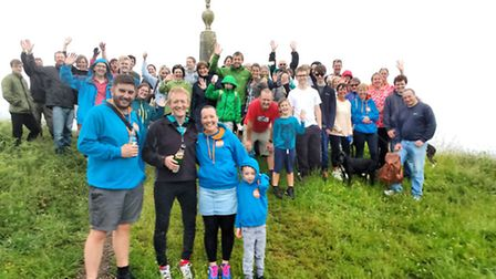 Brian Hogg (front, second from left) was joined at the top by ChemoHero founder Lisa Wallis-Crocker