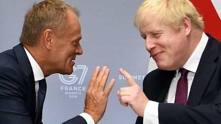 Boris Johnson meeing Donald Tusk during the G7 summit in Biarritz, France. Tusk has recently reminde