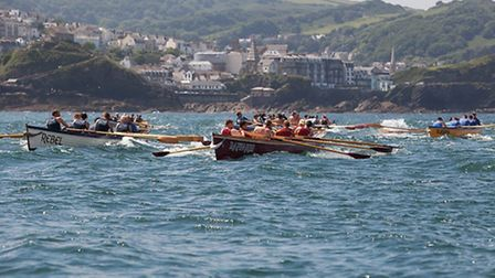 Ilfracombe men's A lead the way ahead of the first buoy turn. Picture: HowaboutDave Photography