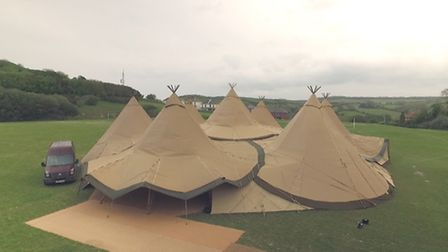 The teepees at the TDK-Lambda birthday bash in Ilfracombe