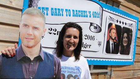 Rachel Pusey, from Bideford, with a lifesize cut-out of her idol, Take That star Gary Barlow. Pictur