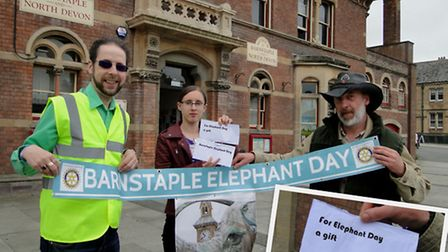 Barnstaple Elephant Day organisers (from left) Adrian Hutchinson, Rebecca James and Terrance James.