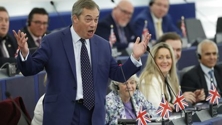Brexit Party leader Nigel Farage delivers a speech in the European parliament. (AP Photo/Jean-Franco
