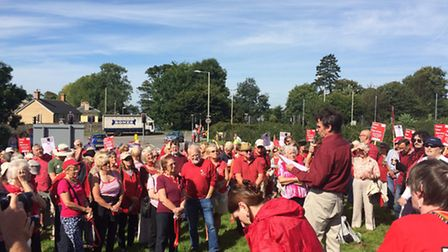 Protesters outside North Devon District Hospital today (Tuesday). Picture: Tony Gussin